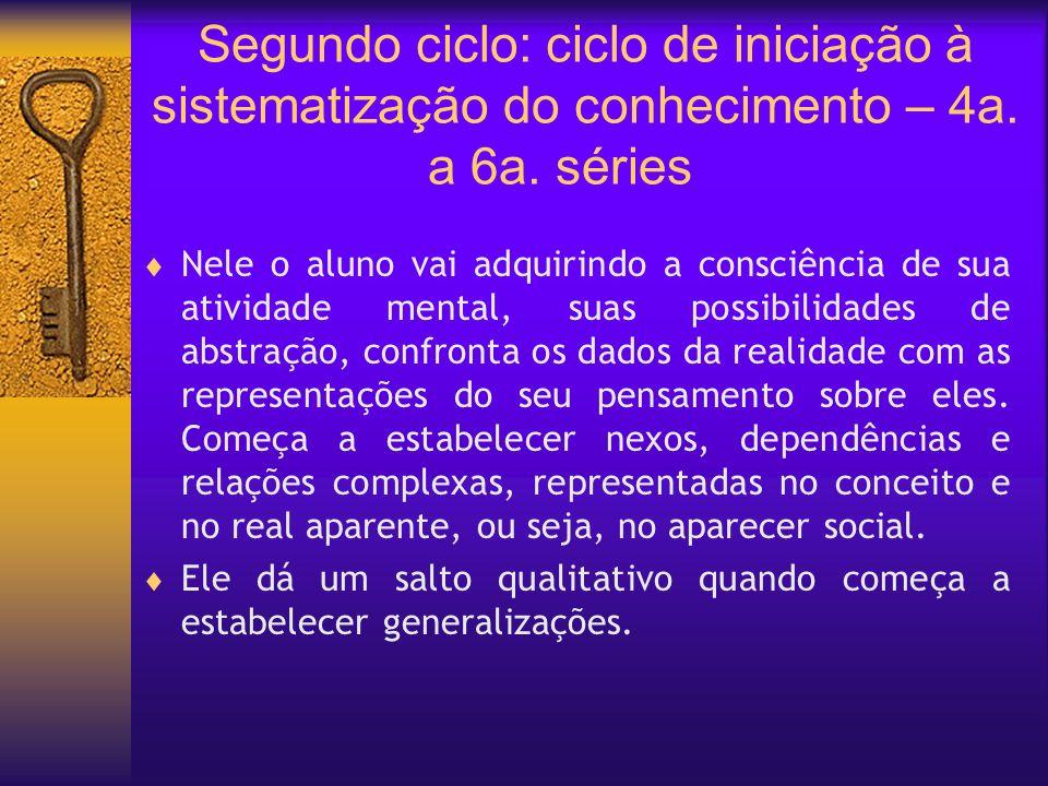 Segundo ciclo: ciclo de iniciação à sistematização do conhecimento – 4a. a 6a. séries