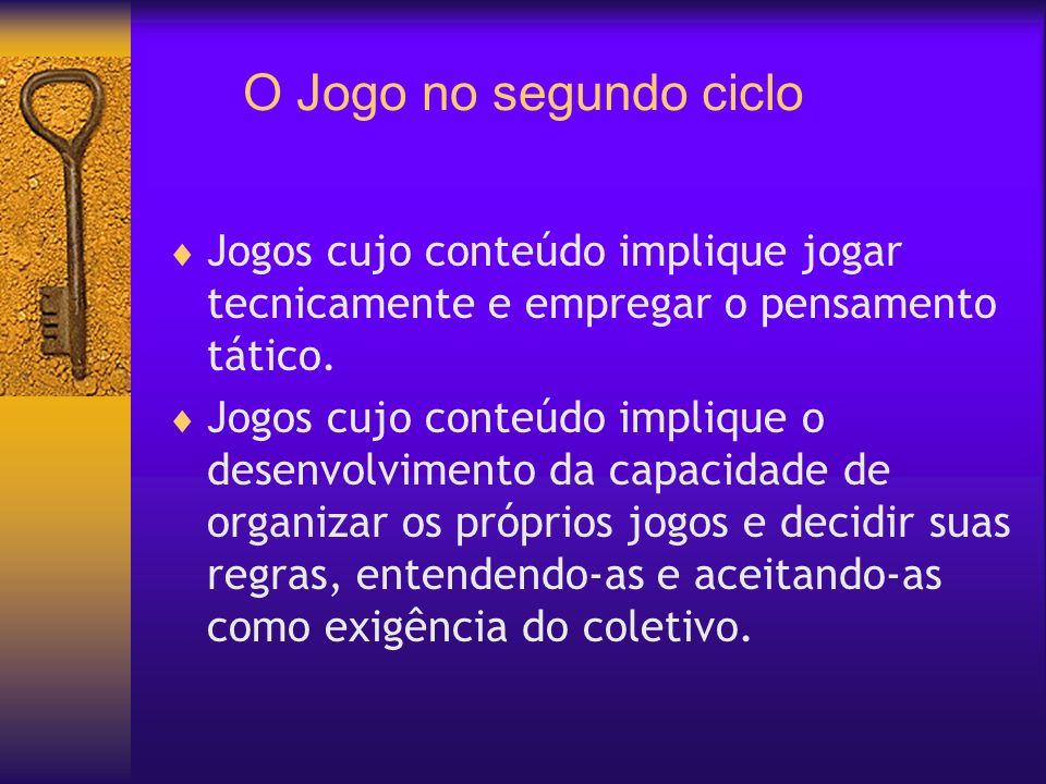 O Jogo no segundo cicloJogos cujo conteúdo implique jogar tecnicamente e empregar o pensamento tático.
