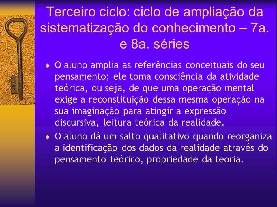 Terceiro ciclo: ciclo de ampliação da sistematização do conhecimento – 7a. e 8a. séries