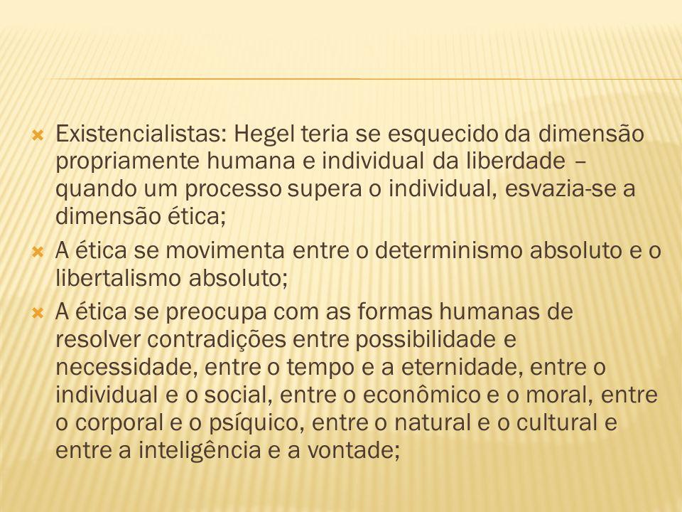 Existencialistas: Hegel teria se esquecido da dimensão propriamente humana e individual da liberdade – quando um processo supera o individual, esvazia-se a dimensão ética;