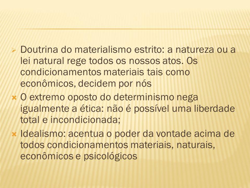 Doutrina do materialismo estrito: a natureza ou a lei natural rege todos os nossos atos. Os condicionamentos materiais tais como econômicos, decidem por nós