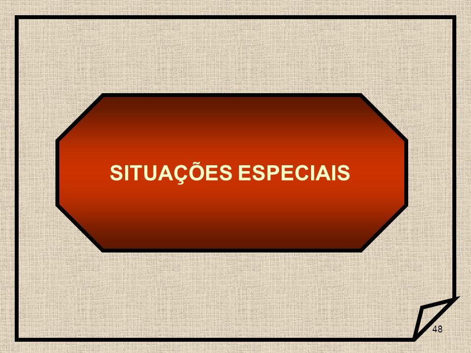 SITUAÇÕES ESPECIAIS