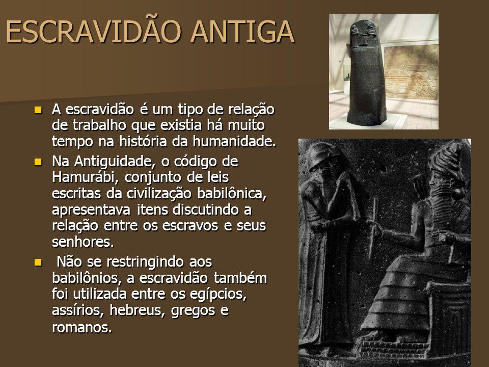 ESCRAVIDÃO ANTIGAA escravidão é um tipo de relação de trabalho que existia há muito tempo na história da humanidade.
