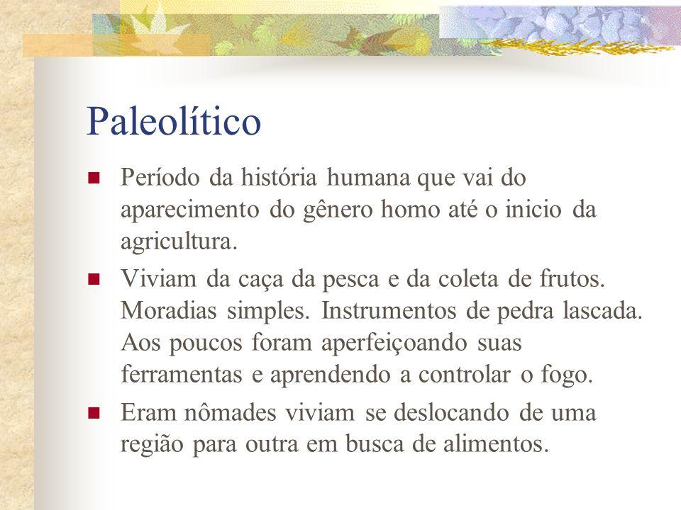 Paleolítico Período da história humana que vai do aparecimento do gênero homo até o inicio da agricultura.