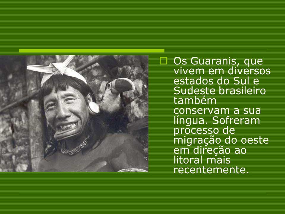 Os Guaranis, que vivem em diversos estados do Sul e Sudeste brasileiro também conservam a sua língua.