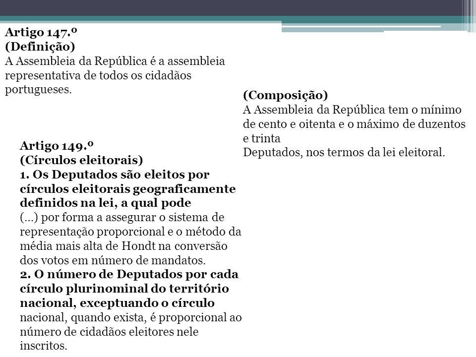 Artigo 147.º (Definição) A Assembleia da República é a assembleia representativa de todos os cidadãos portugueses.