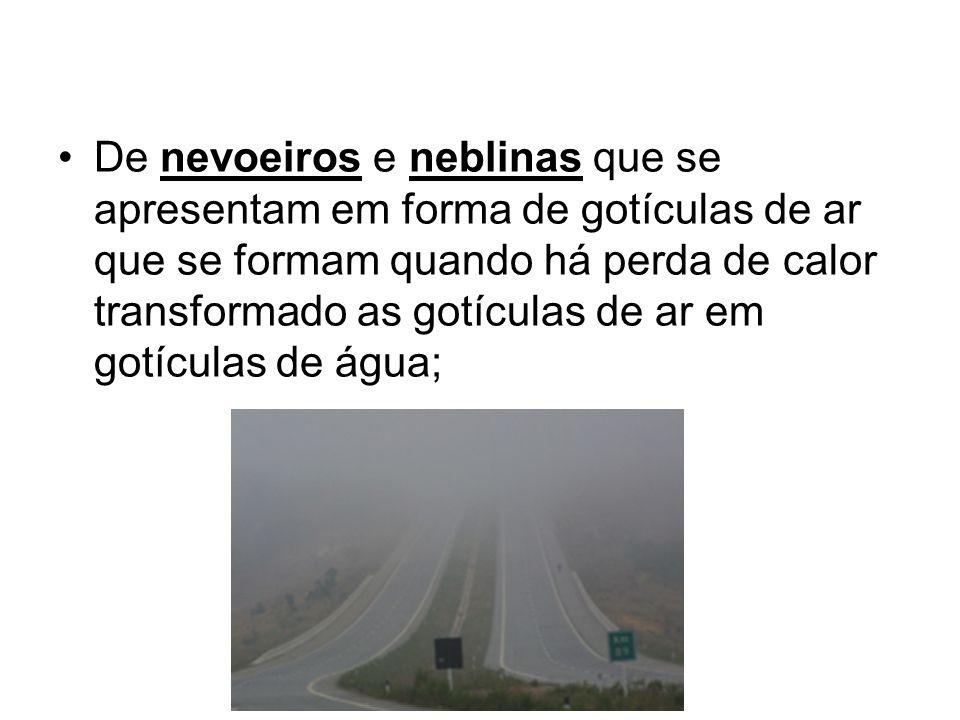De nevoeiros e neblinas que se apresentam em forma de gotículas de ar que se formam quando há perda de calor transformado as gotículas de ar em gotículas de água;