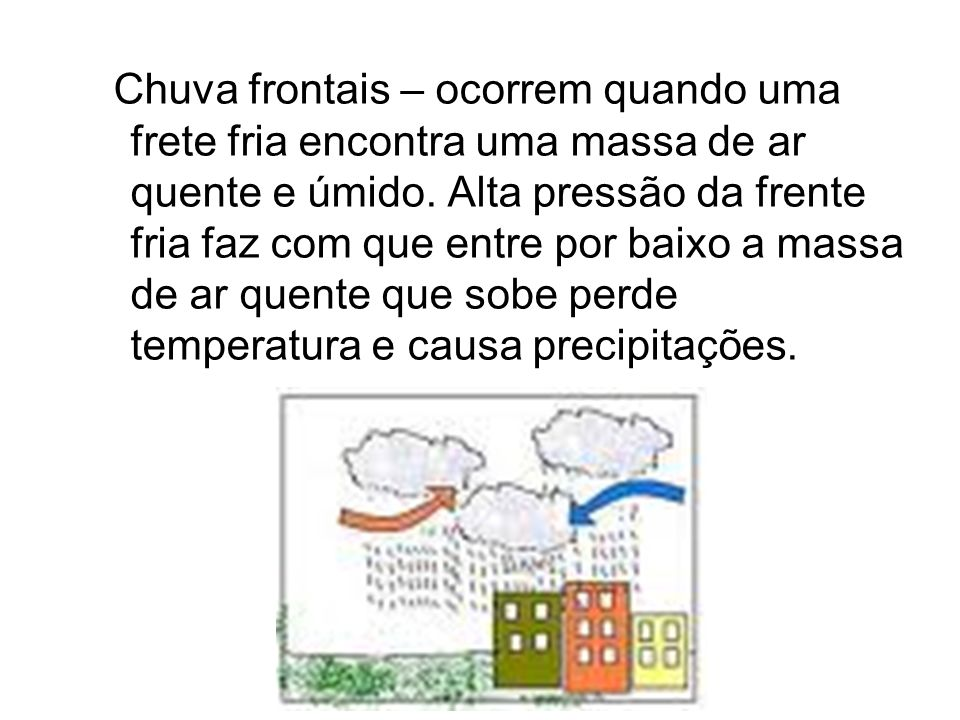 Chuva frontais – ocorrem quando uma frete fria encontra uma massa de ar quente e úmido.