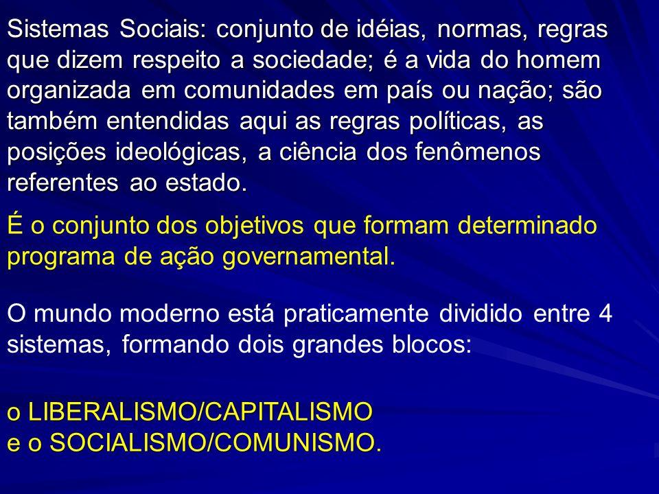 Sistemas Sociais: conjunto de idéias, normas, regras que dizem respeito a sociedade; é a vida do homem organizada em comunidades em país ou nação; são também entendidas aqui as regras políticas, as posições ideológicas, a ciência dos fenômenos referentes ao estado.