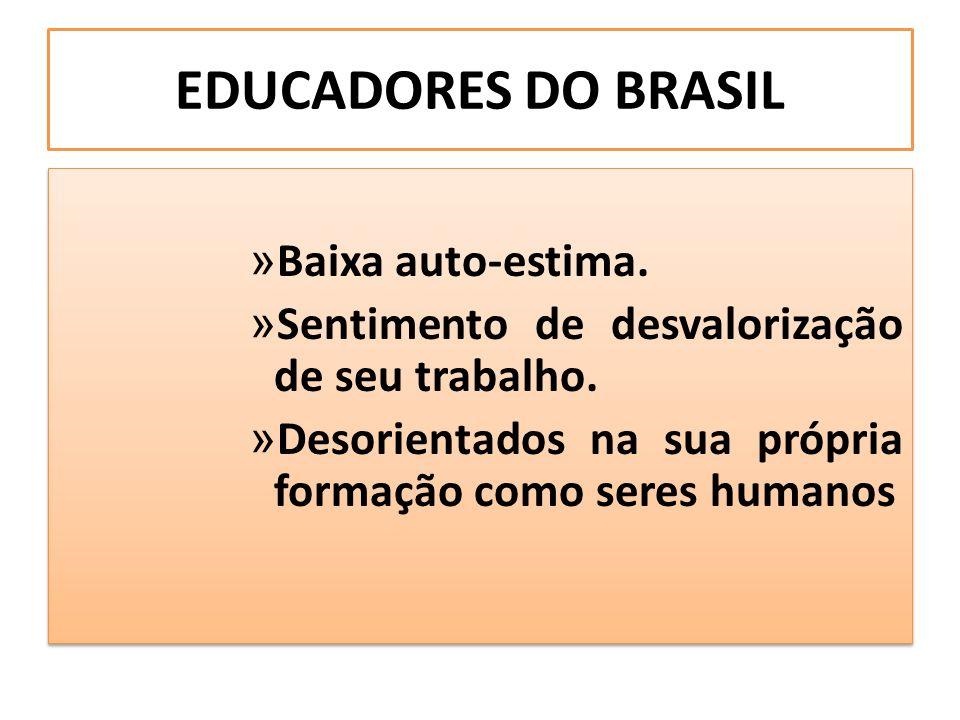 EDUCADORES DO BRASIL Baixa auto-estima.