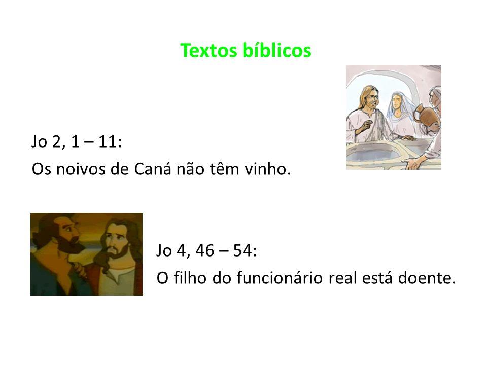 Textos bíblicos Jo 2, 1 – 11: Os noivos de Caná não têm vinho.
