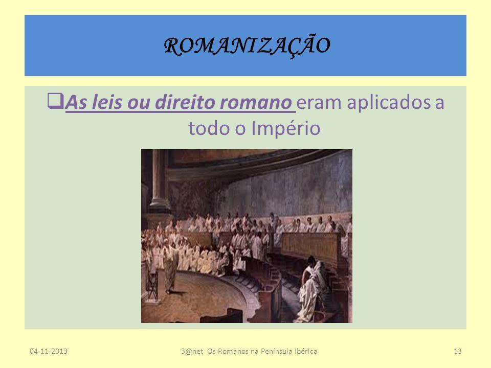 ROMANIZAÇÃO As leis ou direito romano eram aplicados a todo o Império