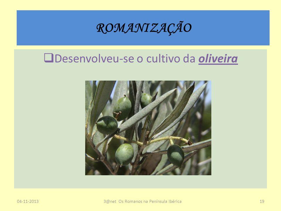 ROMANIZAÇÃO Desenvolveu-se o cultivo da oliveira 23-03-2017