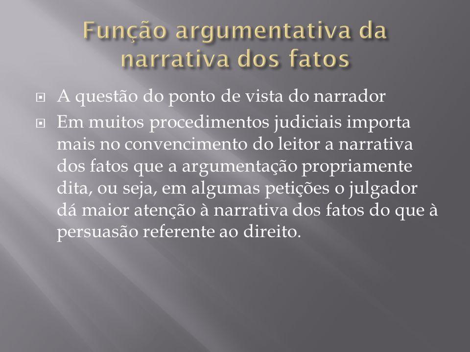 Função argumentativa da narrativa dos fatos