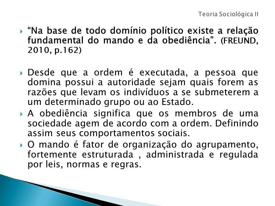 Teoria Sociológica II Na base de todo domínio político existe a relação fundamental do mando e da obediência . (FREUND, 2010, p.162)