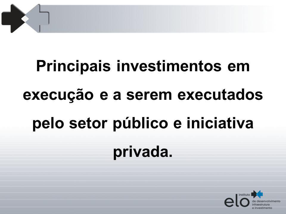 Principais investimentos em execução e a serem executados pelo setor público e iniciativa privada.