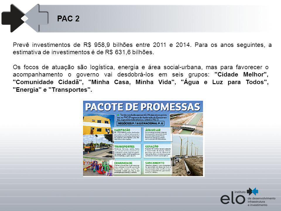 PAC 2 Prevê investimentos de R$ 958,9 bilhões entre 2011 e 2014. Para os anos seguintes, a estimativa de investimentos é de R$ 631,6 bilhões.