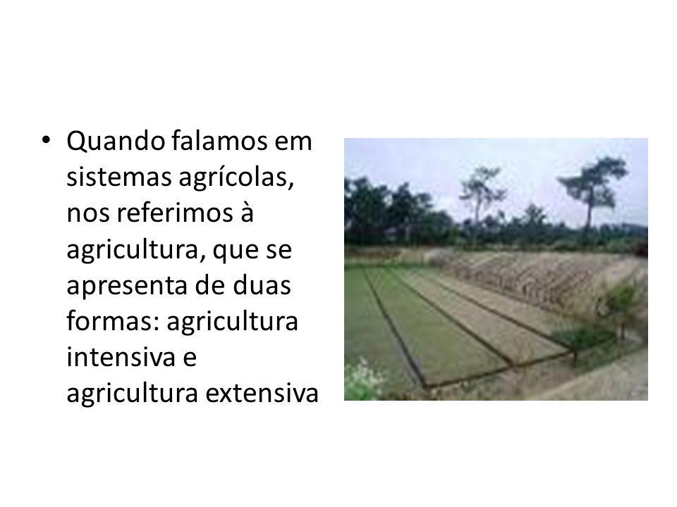 Quando falamos em sistemas agrícolas, nos referimos à agricultura, que se apresenta de duas formas: agricultura intensiva e agricultura extensiva