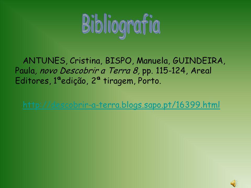 Bibliografia ANTUNES, Cristina, BISPO, Manuela, GUINDEIRA, Paula, novo Descobrir a Terra 8, pp. 115-124, Areal Editores, 1ªedição, 2ª tiragem, Porto.