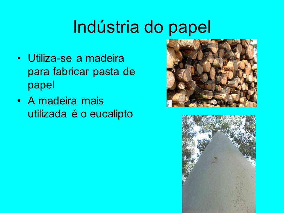 Indústria do papel Utiliza-se a madeira para fabricar pasta de papel