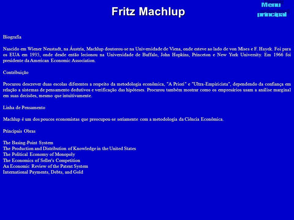 Fritz Machlup Menu principal Biografia