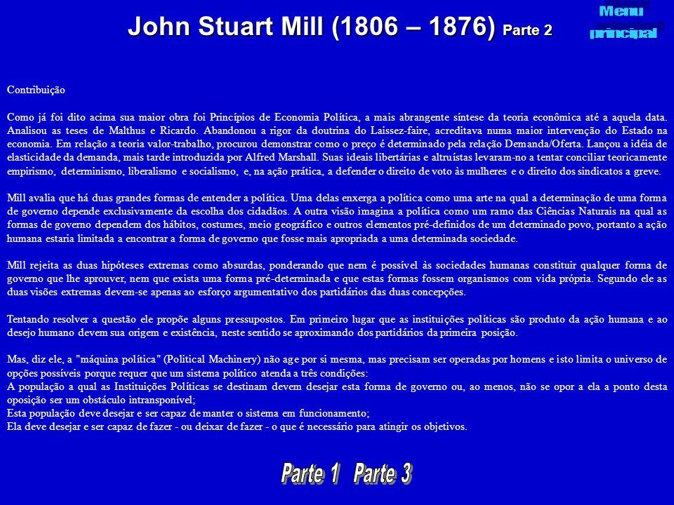 John Stuart Mill (1806 – 1876) Parte 2