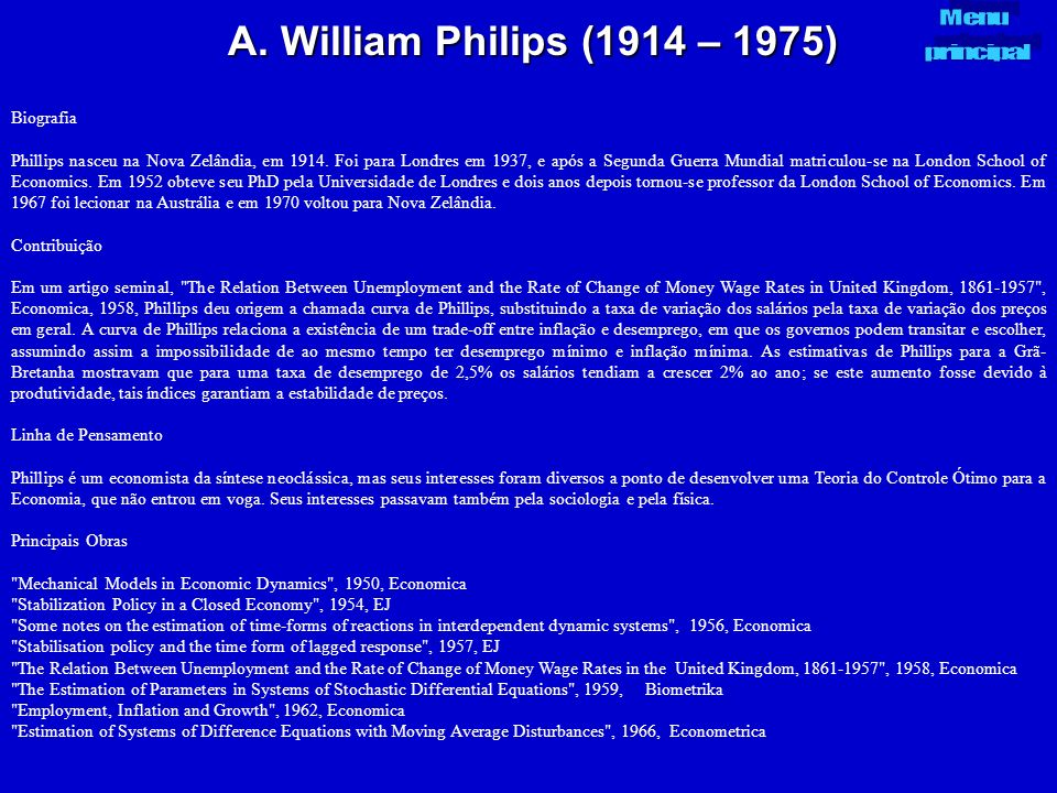 A. William Philips (1914 – 1975) Menu principal Biografia