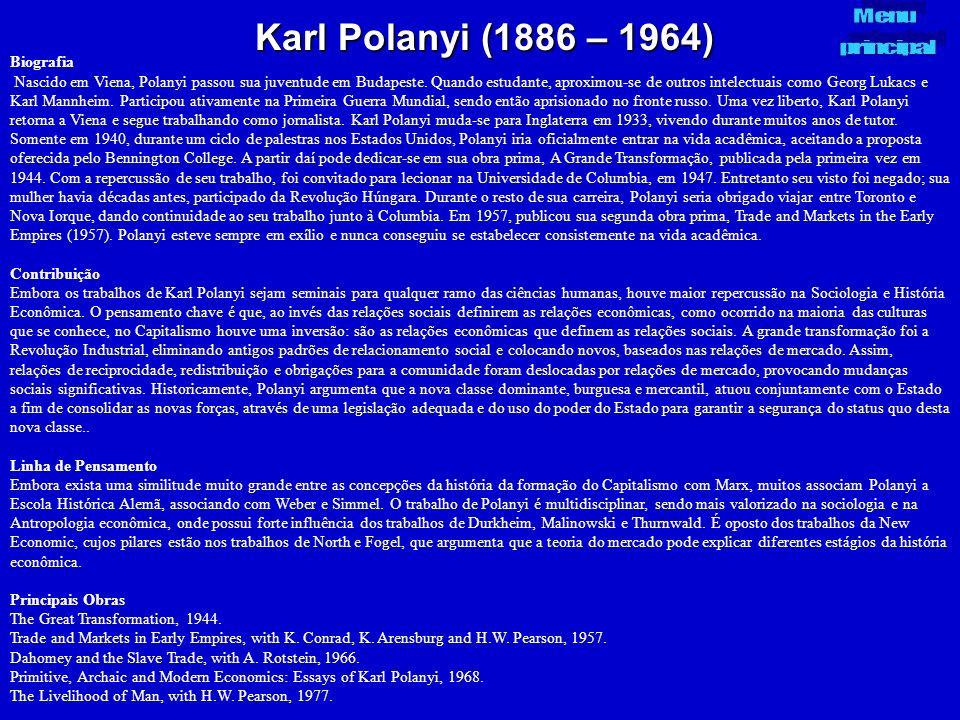 Karl Polanyi (1886 – 1964) Menu principal Biografia