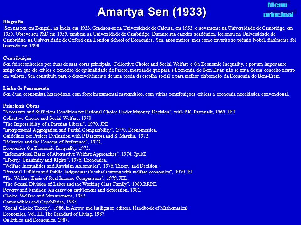 Amartya Sen (1933) Menu principal Biografia