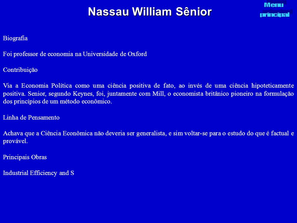 Nassau William Sênior Biografia