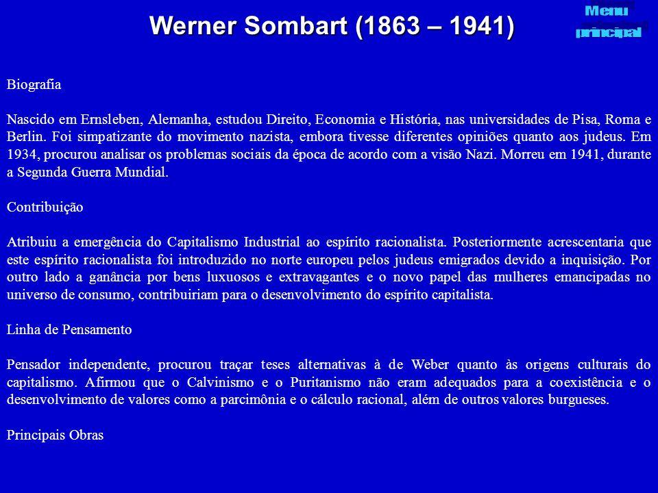 Werner Sombart (1863 – 1941) Biografia