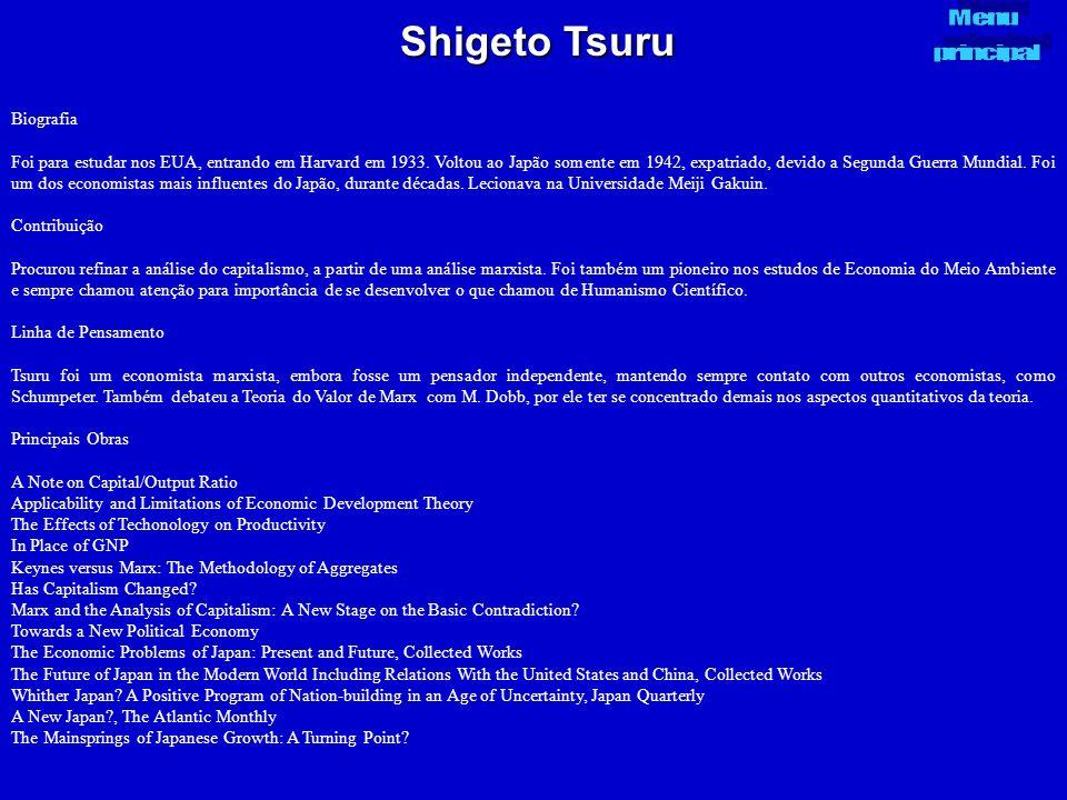 Shigeto Tsuru Menu principal Biografia