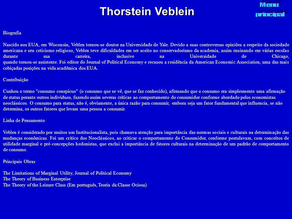 Thorstein Veblein Menu principal Biografia