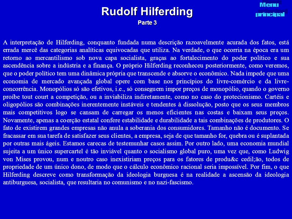 Rudolf Hilferding Parte 3. Menu. principal.