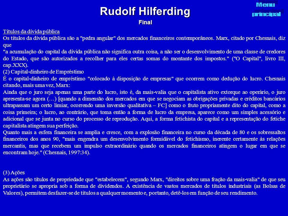 Rudolf Hilferding Final Títulos da dívida pública