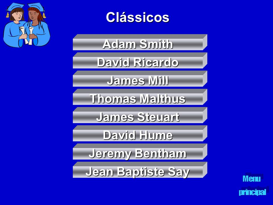 Clássicos Adam Smith David Ricardo James Mill Thomas Malthus