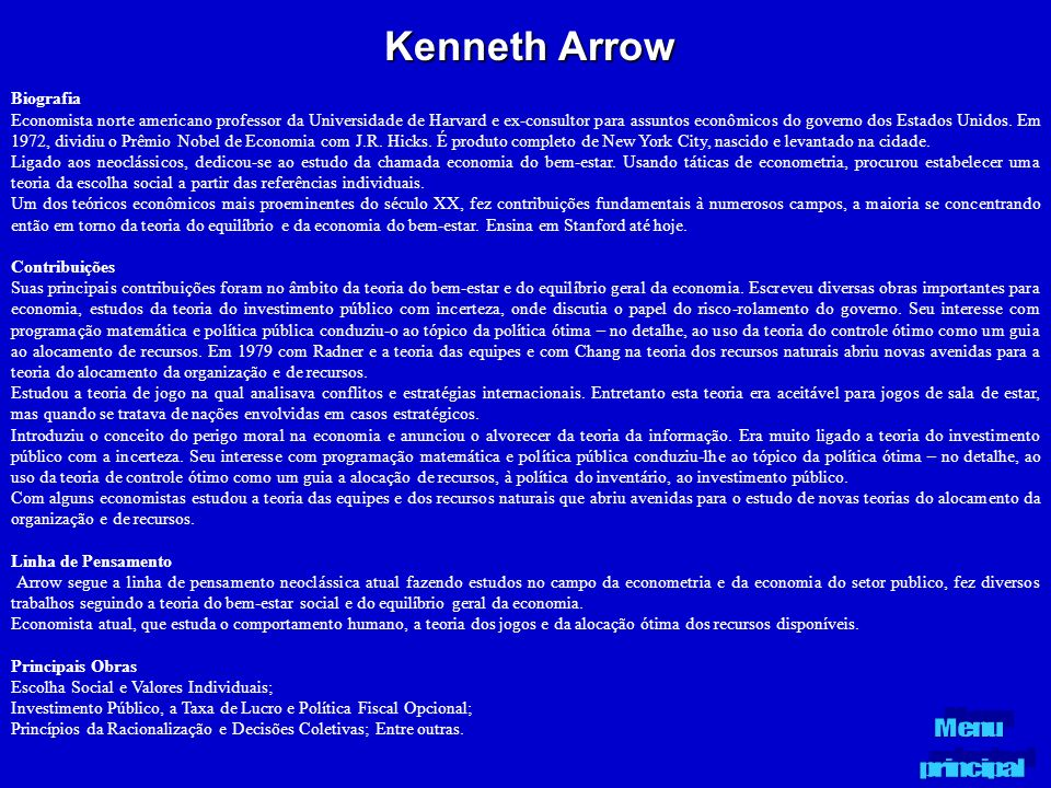 Kenneth Arrow Biografia