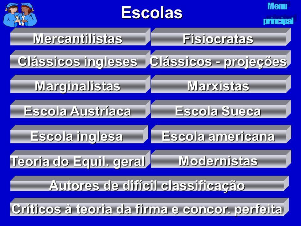Escolas Mercantilistas Fisiocratas Clássicos ingleses