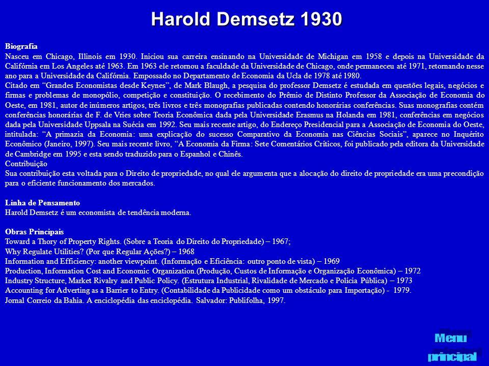 Harold Demsetz 1930 Biografia