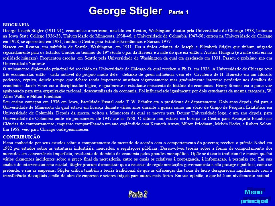 George Stigler Parte 1 BIOGRAFIA