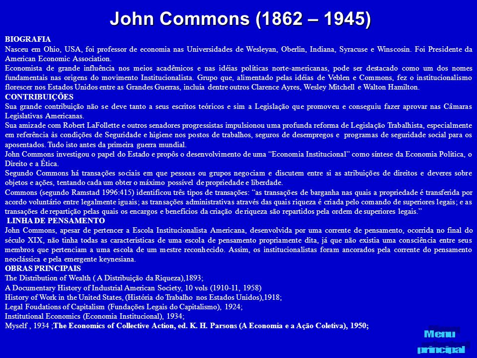 John Commons (1862 – 1945) BIOGRAFIA