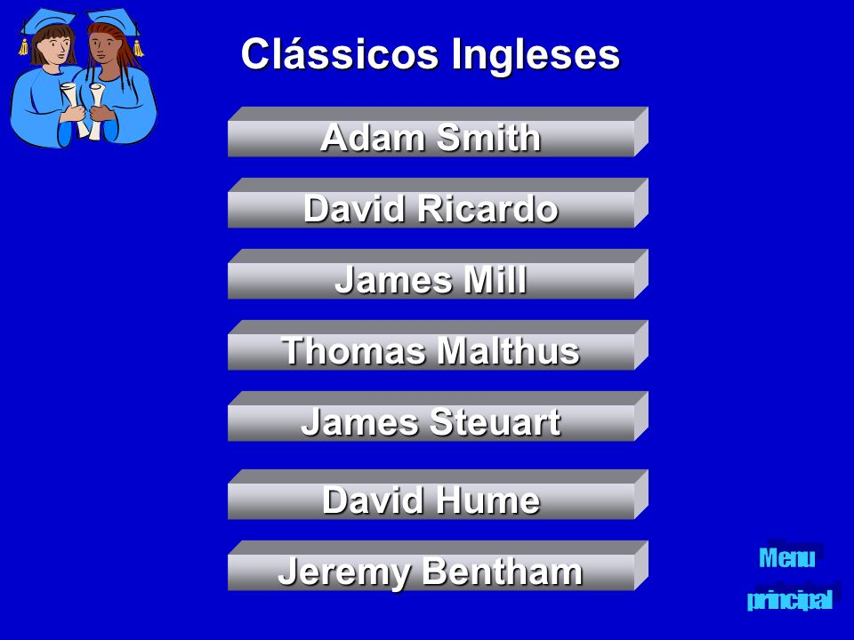 Clássicos Ingleses Adam Smith David Ricardo James Mill Thomas Malthus