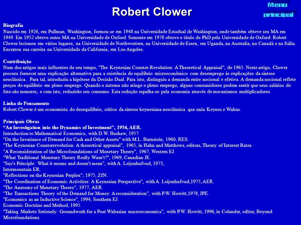 Robert Clower Menu principal Biografia