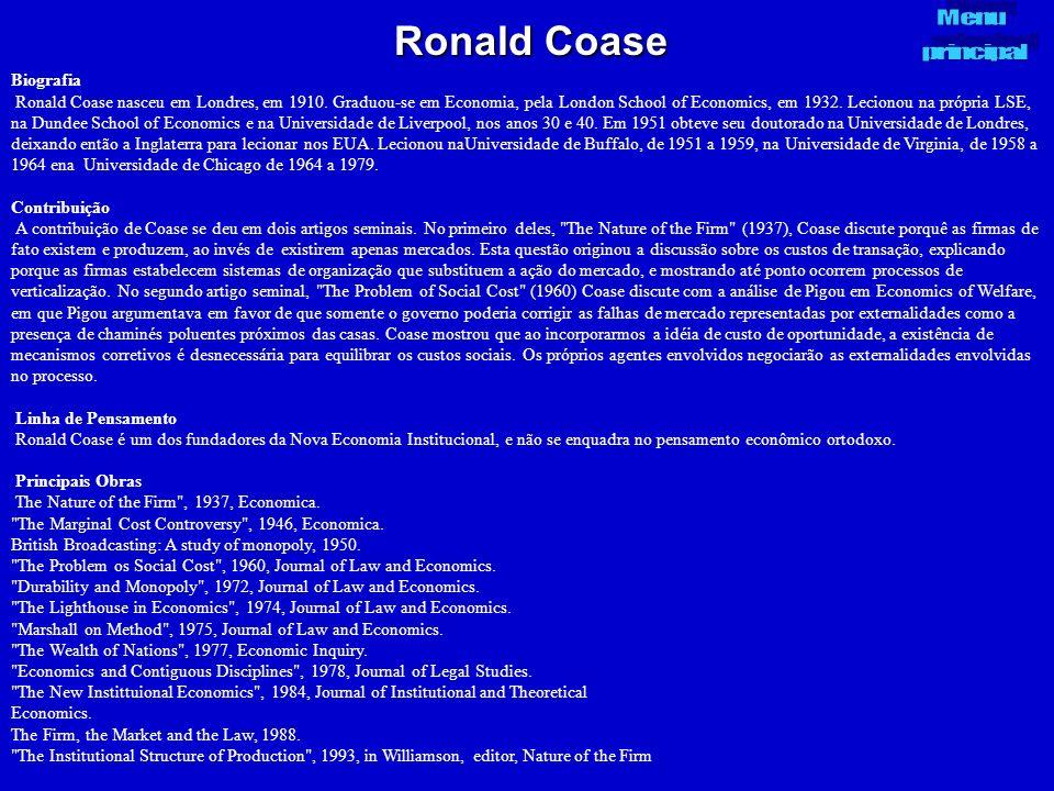 Ronald Coase Menu principal Biografia