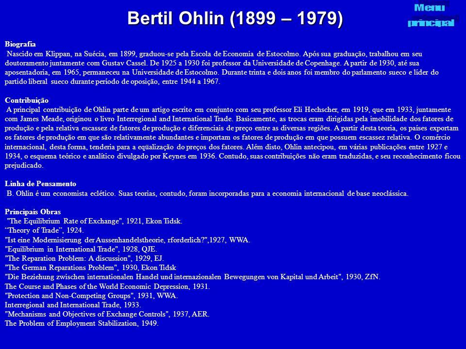 Bertil Ohlin (1899 – 1979) Menu principal Biografia