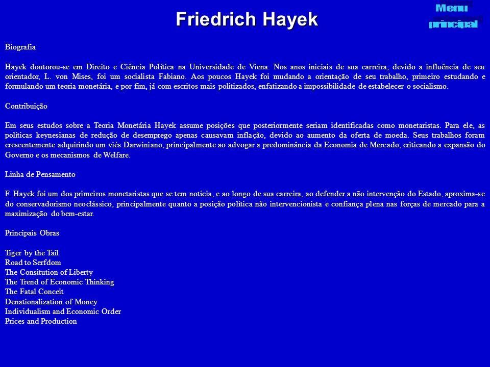 Friedrich Hayek Menu principal Biografia