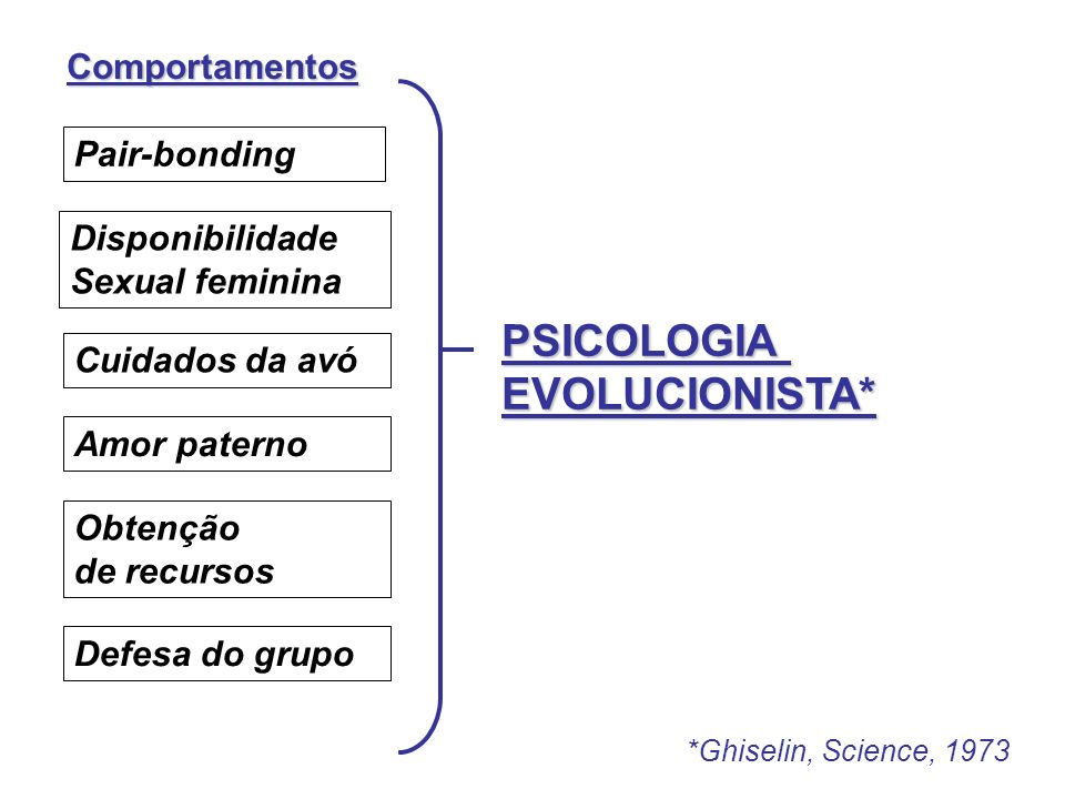PSICOLOGIA EVOLUCIONISTA* Comportamentos Pair-bonding Disponibilidade