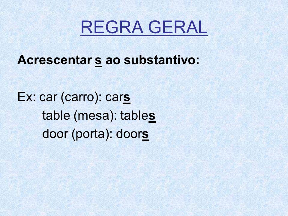 REGRA GERALAcrescentar s ao substantivo: Ex: car (carro): cars table (mesa): tables door (porta): doors