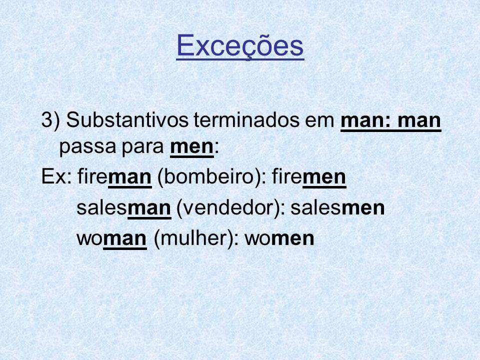 Exceções 3) Substantivos terminados em man: man passa para men: