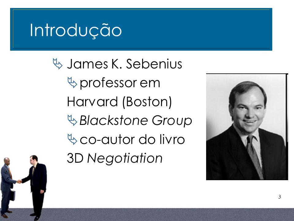 Introdução James K. Sebenius professor em Harvard (Boston)